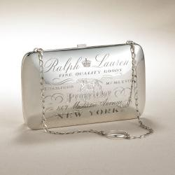 Ralph Lauren Collection Engraved Silver Clutch