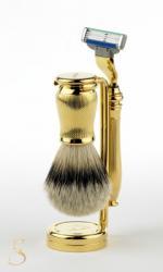 Edwin Jagger Rasierset aus Dachshaar in gold