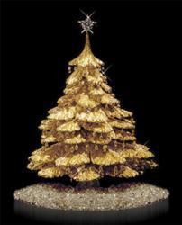 Weihnachtsbaum aus Gold mit Diamanten
