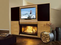 Multimedia-Kamin mit eingebautem LCD-Fernseher