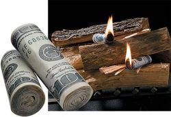 Geldscheine als Grillanzünder