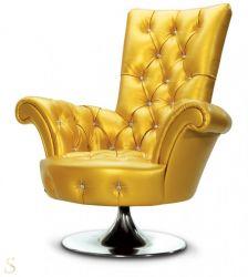 Bretz Pompadour Hochlehnsessel B141 in Gold
