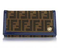 Fendi Brieftasche mit Zuccamuster in blau & tobacco