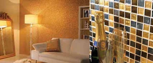 24-karätige Gold Mosaik-fliesen - Richtigteuer.de Badezimmer Gold Mosaik