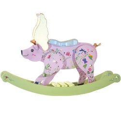 luxuriöses Holz-Schaukelschwein