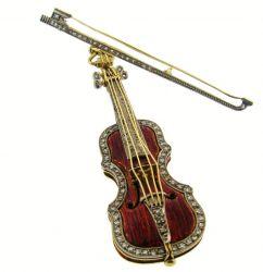 Diamantbesetzte Brosche einer Violine