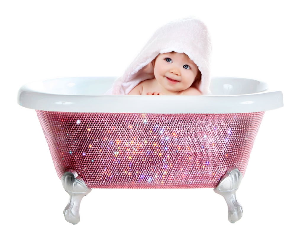 badewanne mit swarovski kristallen f r babies. Black Bedroom Furniture Sets. Home Design Ideas