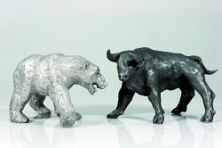 Bulle und Bär aus reinem Silber