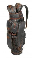 A.Testoni Golftasche aus schwarzem Kalbsleder