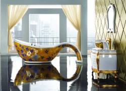 CRW Badewanne Royal Star mit Echtgoldmosaik