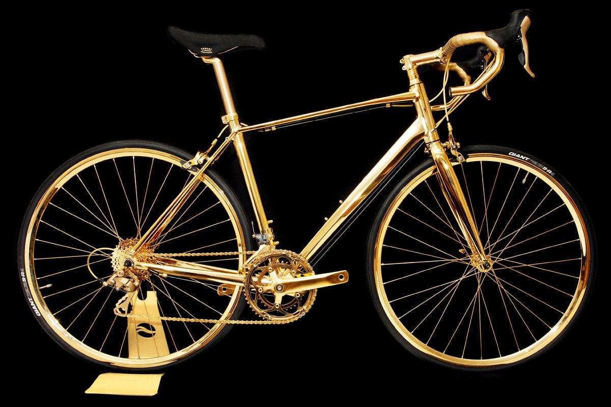 goldgenie rennrad aus 24 kar tigem gold. Black Bedroom Furniture Sets. Home Design Ideas