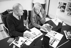 Die Designer Iris von Arnim und Fritz Unützer, die den Sneaker aus Kaschmir entworfen haben
