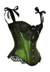 Überbrustmodell - ein Korsett in schimmerndem Grün und schwarzer Spitze