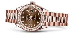 Ein Damenuhr-Modell von Rolex mit schokobraunem Zifferbaltt