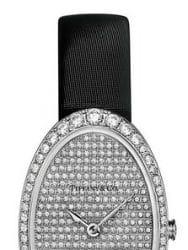 Eine Damenuhr von Tiffany - Detail des diamantenbesetzten Zifferblattes
