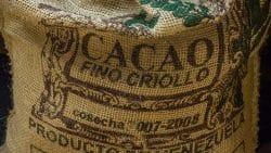 Label auf einem Sack für Criollo-Kakaobohnen