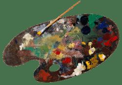 Eine Palette voller Farben